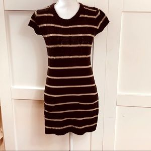 Brown and cream striped dress